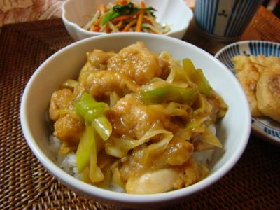 ネギ鶏のカレー風味丼