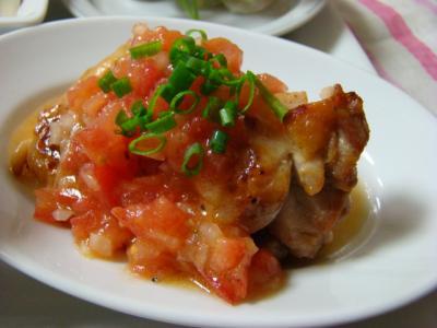 鶏ソテーのトマト柚子こしょう風味