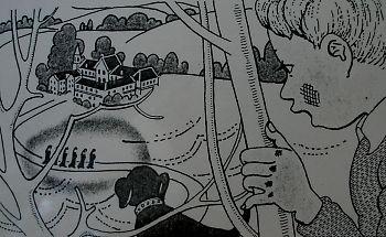 向こうのおかの中腹に白い建物があって、それに続く畑に、五、六人の忍者が歩いているのを見たのである。