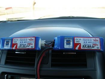 車の暖房吹出し口でLipo2200mAhを温めてみました。