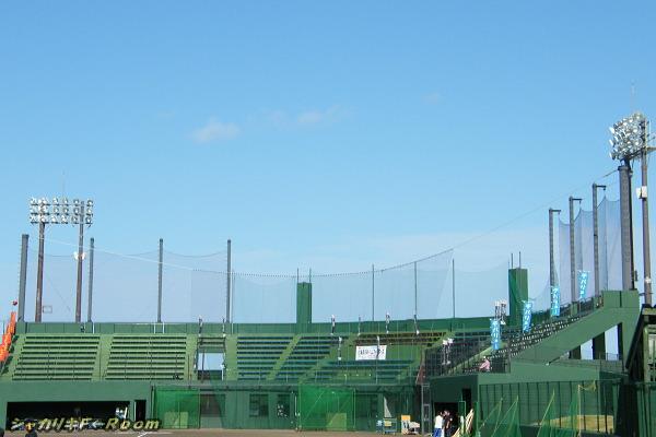 チバリヨー!のぼりがイッパイの国頭球場。