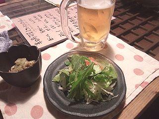 ビールと付き出し前菜