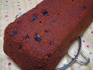 チョコとラムレーズンのケーキ