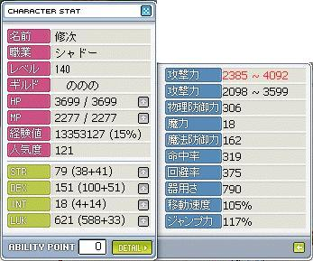 斬り140ステータス