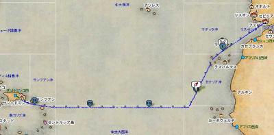 セビ→ドミンゴ間航路図