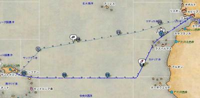ドミンゴ→セビ間航路図