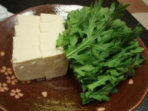 豆腐と春菊