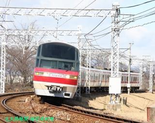 名鉄特急と青空の木曽川写真 2