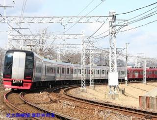 名鉄特急と青空の木曽川写真 7