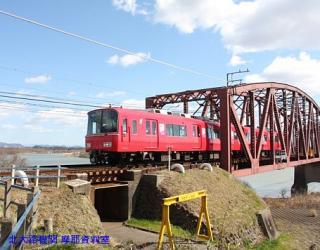 名鉄特急と青空の木曽川写真 10