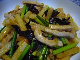 山芋と豚肉の豆板醤炒め