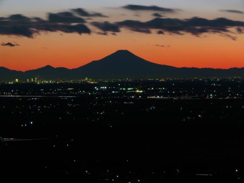 富士山を筑波山から眺める