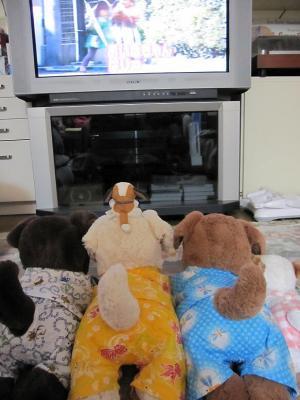 みんなでテレビ見てるよ