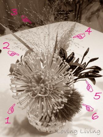十二夜 フラワーコーディネート ピンクッション 秋色てまり草 スモークグラス とうがらし ケイトウ ピットスポラム