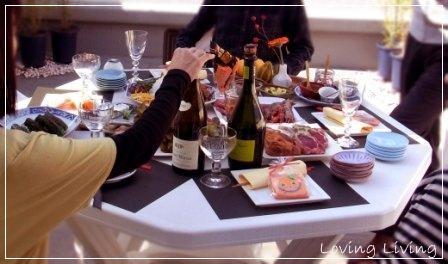 ハロウィン テーブルコーディネート BBQ ベランダ