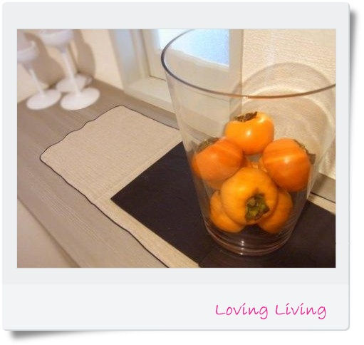 エントランス 柿 ガラスフラワーベース