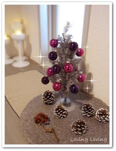 クリスマスツリー 松ぼっくり 赤い実 エントランス インテリアコーディネート