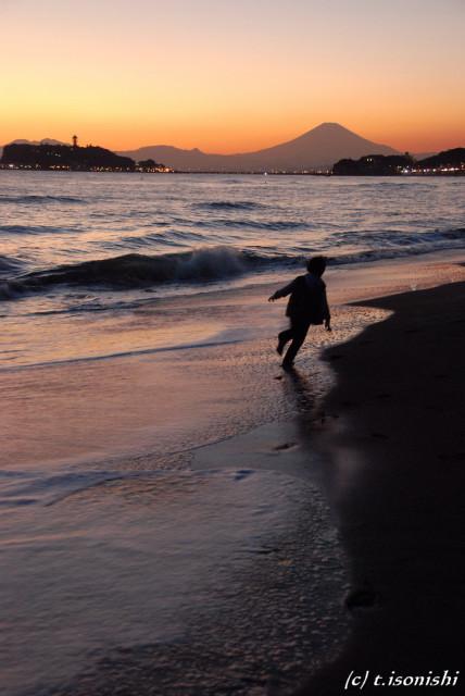 富士山と江ノ島の夕景(2008/11/23)
