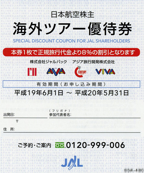 JAL海外ツアー優待券