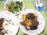 揚げ南瓜のそぼろ煮・野菜の和え物・佃煮