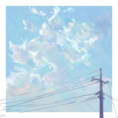 電柱と秋の雲