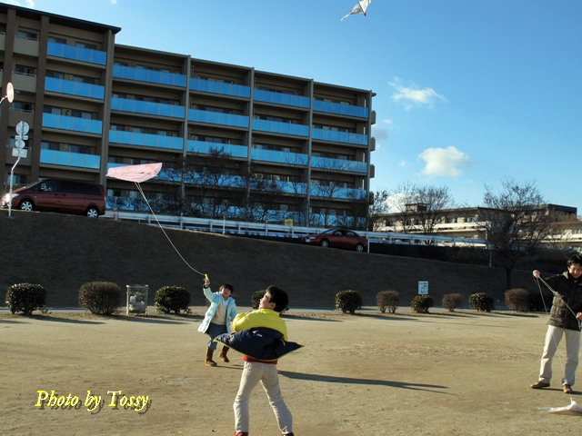 凧揚げをする家族2