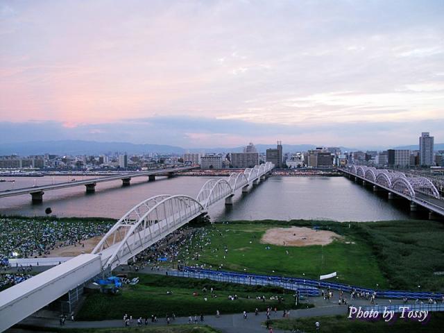 屋上から見た新淀川