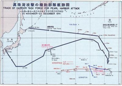 真珠湾攻撃 航路図400