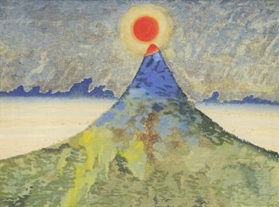 日輪と山400