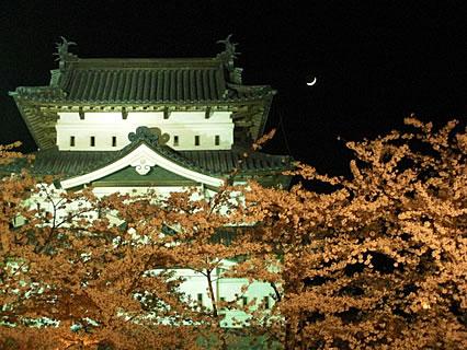 弘前公園 弘前城天守と桜と三日月
