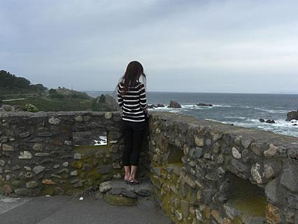 葦毛崎展望台から海をみつめる干物女