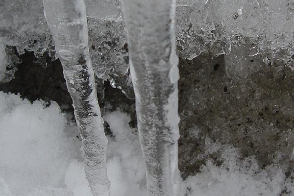 道端に氷柱
