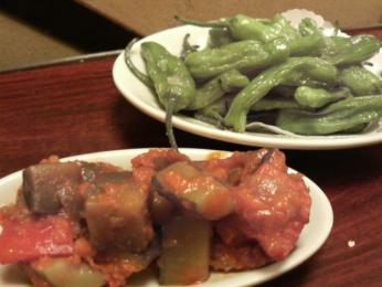 野菜の煮込みとしし唐のフライ