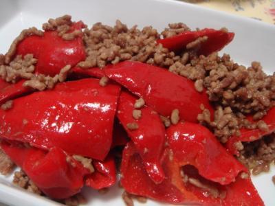 トマトとひき肉炒め