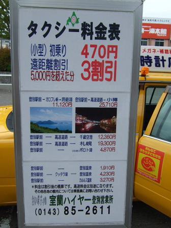 登別タクシー料金