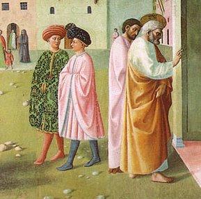 800px-Cappella_brancacci,_Guarigione_dello_storpio_e_resurrezione_di_Tabita_(restaurato),_Masolino