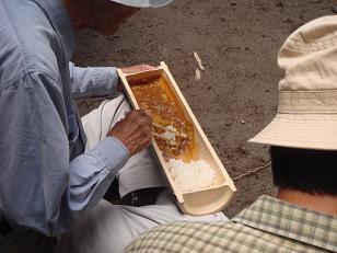 竹の食器でカレーライス