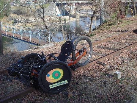 駅舎のレールバイク