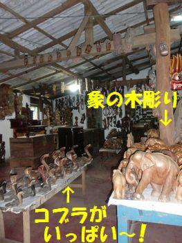 木彫りの象とコブラ・・・