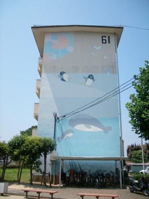 公団中宮第3団地の住棟壁画1