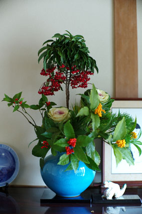 玄関の花 1月