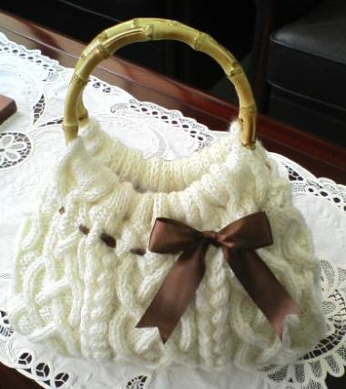 Cable Knit Bag アラン模様のニットバッグ1