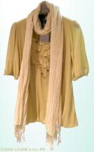 OUNIE(ルーニィ)通販:2009春物VOYAGE:コットンフライスカットソー×綿ポリシワストール