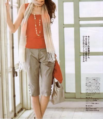 LOUNIE(ルーニィ)通販:Oggi(オッジ)5月号(2009年)掲載のルーニィタイアップ(6) Oggiモデルのヨンアさん着用、サルエル風パンツを効かせたひとひねりベーシックスタイル