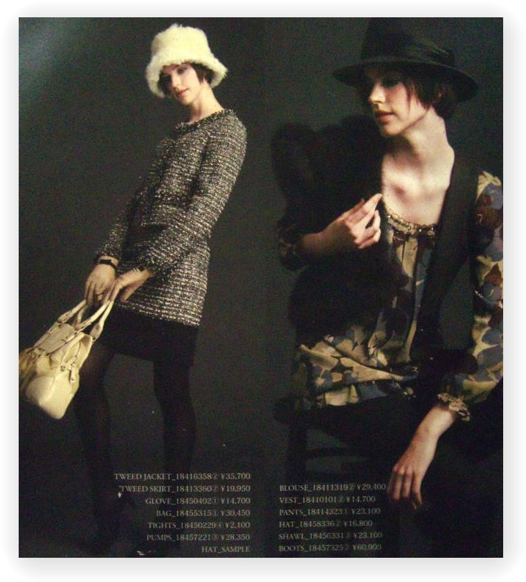 LOUNIE'08秋公式カタログ2ページ(ツイードスーツと花チュニック)