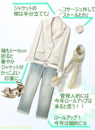 LOUNIE(ルーニィ)通販:2009春夏物さっそく買いました♪色落ちデニムときれいめツイードジャケットで大人のカジュアルを楽しんで☆白ベルト・デニムロールアップはマスト!