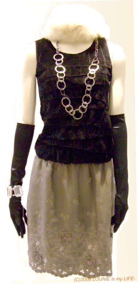 LOUNIE(ルーニィ)-2008秋冬パーティ★ティアードタンク×立体花刺繍スカート×サテンロンググローブ