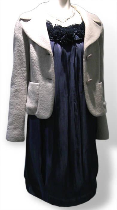LOUNIE(ルーニィ)通販:2008秋冬:デコルテコサージュワンピース青