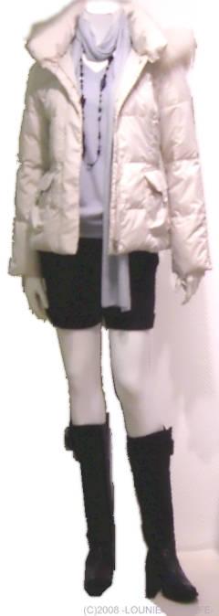 LOUNIE(ルーニィ)通販:2008冬物:マフラー付きVネックニット:詳細