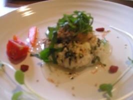 玄米薬膳ランチ「菜の花と桜エビのお豆腐まんじゅうあさりあんかけ」